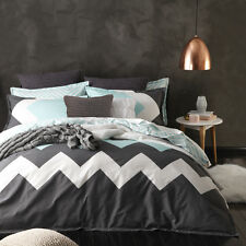 Logan and Mason MARLEY MINT Chevron QUEEN Size Bed Doona Duvet Quilt Cover Set