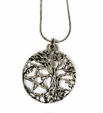 Necklace Choker Wicca Magical Tree Of Life Pentagram Evolving Silver Tone