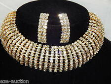 Bridal 10 Gold Arch Rhinestone Choker Necklace and Earrings Set