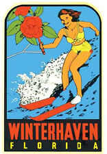Winter Haven, FL    Florida  Pin-Up  1950's  Vintage-Style  Travel Decal/Sticker