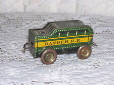 ANTIQUE TRAIN CAR OR PEOPLE MOVER RANGER R.R. TIN VEHICLE WHEELS TURN