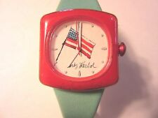 Unisex~Andy Warhol~Wrist Watch~Blue Leather Band~AMERICAN FLAG~Patriotic