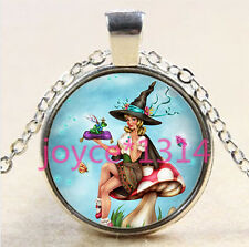 Vintage Witch Cabochon Tibetan silver Glass Chain Pendant Necklace @2807