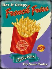 French Fries chips, 50's Dinner Kitchen Cafe Food Retro, Small Metal/Tin Sign