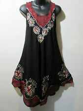 Dress Fits Plus 1X 2X 3X 4X Plus Sundress Black Red Batik Bell Shaped NWT 003