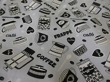 Stylish Grey Coffee Cups Summer 100% Cotton Poplin Fabric.
