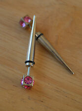 Mens boys women single spike fake plug with bright pink crystals stainless steel