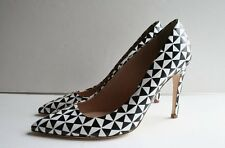 JCrew Falsetto Printed Leather Pumps Size 7 Fresh Cream Black White Heels