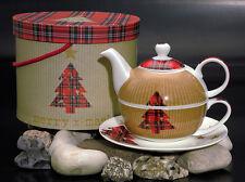Tea for one Tea4One Set Teekanne Porzellan Tartan Tree (Weihnachten) von PPD