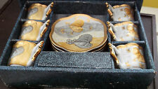 ? ANTIQUE BOXED SET OF SIX  SMALL CUPS & SAUCERS IN A GOLD COLOUR / SLATE