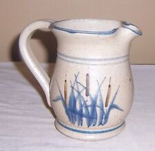 ~~ SIGNED  ART POTTERY ~~ BROWN PITCHER WITH BLUE REEDS AND CATTAILS