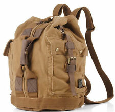 Mens Travel retro Military Canvas Leather Backpack Rucksack Laptop Satchel Bag