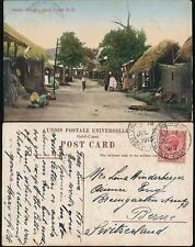 GOLD COAST 1915 VICTORIABORG CANCEL to SWITZERLAND PPC NATIVE VILLAGE