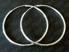 925 Sterling Silver Hoop Earrings Classic Sleeper Large Endless Hoops 40mm Women