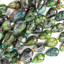 "10x14mm faceted dragon vein agate teardrop beads 5.5"" strand multicolor"