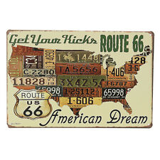 Metal Sign American Dream Retro Tin License Plate Poster Wall Decor Route 66 ST