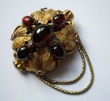 Antique Victorian Gold Garnet 18ct 18k Garnet Cabachon Brooch Pin