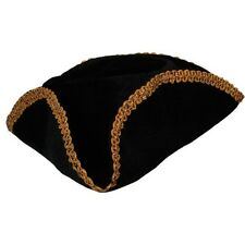 Adult Black And Gold Trimmed Pirate Captain Fancy Dress Costume Hat AC9126