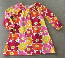 Boutique Anthropologie Kids Marimekko Orange Pink Poppy Flower Dress 110 5 Years