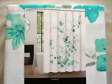 NEW Tahari Fabric Shower Curtain Floral PRINTEMPS Blues, Greens, Grey & White