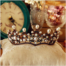 Vintage Black Crown Wedding Tiara Bridal Rhinestone Headband Pearl Hair Jewelry