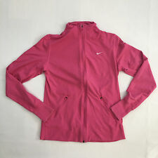 Nike Pink Running Full Zip Fit-Dry Athletic Jacket Thumb Holes Women's L Large