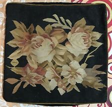 """ANTIQUE 19C AUBUSSON FRENCH HAND WOVEN TAPESTRY CUSHION 17"""" By 18"""""""