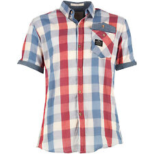 Crosshatch Men's Size Small Short Sleeve Check Red / Blue Shirt
