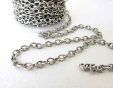 Antiqued Silver Ox Chain Cable Textured Oval Open Links Nunn Design 5x4mm