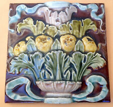 Vintage Art Nouveau Pottery 6in.floral  Tile  NR