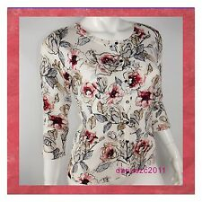 WHITE HOUSE BLACK MARKET WOMEN'S SIZE MEDIUM FLORAL PRINTED  CARDIGAN SWEATER