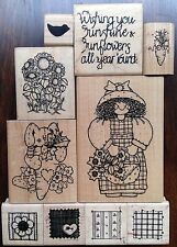 D.O.T.S. Lot 10 Country Style Rubber Stamps Sunflowers Garden Bunny Quilt DOTS