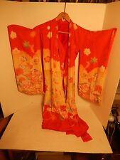 Vintage Hand Sewn Japanese Silk Floral Red & Soft Yellow Kimono Wedding Dress
