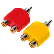RCA Y Splitter AV Audio Video Plug Converter  Cable Adapter-RED+YELLOW