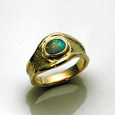 New Contemporary 14kt Yellow Gold Australian Opal Ring Size 6 Made in USA