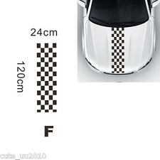 120x24cm Black & White Checkered Racing Chequered Flag Styling Decal Vinyl Stick