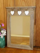 SHABBY CHIC RUSTIC FARMHOUSE WOODEN MIRROR WITH HANGING HEARTS WALL MIRROR