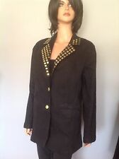 Jacket Blazer Denim L DG2 Diane Gilman Black Gold Square Studs Designer Fashion