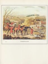 """1974 Vintage FOX HUNTING """"UNKENNELLING"""" BEFORE THE MEET COLOR Art Lithograph"""