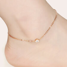 Delicate Stainless Steel Rose Gold  Drill Crystals Charms Anklet or Bracelet