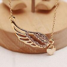 Fashion Angel Wings Gold Plated Crystal Love Heart Pendant Chain Necklace Gift