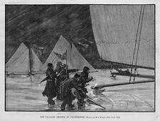 ICE-YACHT REGATTA AT POUGHKEEPSIE, ANTIQUE ICE-BOATS SAILING, WINTER SPORTS, ICE