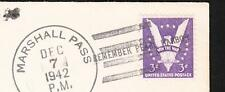 WWII Hitler Pearl Harbor Canc 1942 Col Baker PM sign Marshall Pass Railroad PO v