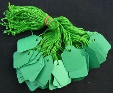 100 x 32mm x 22mm Green Strung String Tags Swing Price Tickets Tie On Labels