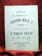 TO ANGELA, GOODBYE ! Whyte Melville, Paolo Tosti; Sheet Music