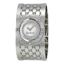 Gucci Ladies Series 112 Twirl Bangle Style Wide White Dial Watch YA112413