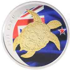 2013 1/2oz Ounce Silver Fiji Taku Turtle Coin 999 Pure Gold Gilded Flag Theme