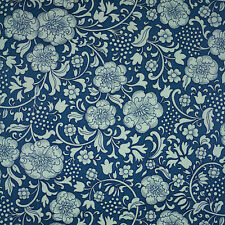 1960s 70s ORIGINAL BLUE FLORAL Wallpaper  - Retro Vintage