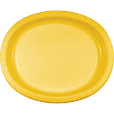 """8 School Bus Yellow Birthday Party Tableware 12"""" Oval Paper Platter Plates"""