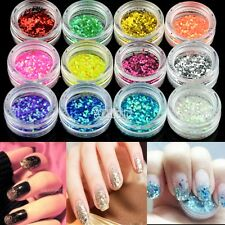 Nail Art 12colors Hexagon Glitter Dust Powder For UV Gel Acrylic Manicure B5UT